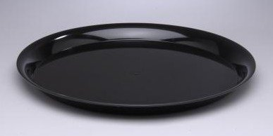 CheckMate Heavyweight Plastic Round Catering Tray with High Edge, 18-Inch Diameter, Black (25-Count) ()