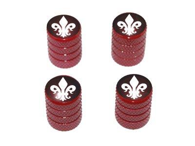 Graphics and More Fleur de Lis - Tire Rim Valve Stem Caps - Red