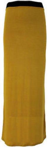 maxi dress plaine jupes longues jupes en jersey stretch Mustard