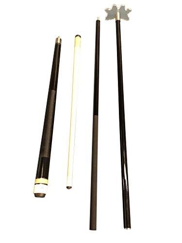 Aska Set of 42 Short Maple Cue Stick and 58'' Fiberglass Bridge Cue with transparent Head, SB1. by Aska