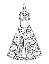 Little Locket Nossa Senhora em Prata com Zircônia