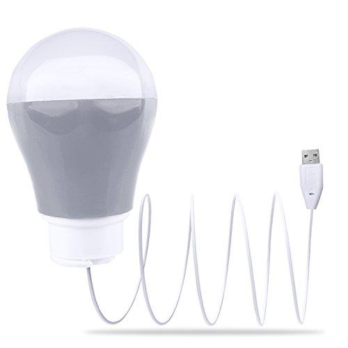 "Portable USB LED Bulb Lantern Tent Light Blubs for Camping Hiking Fishing Emergency Light,- 5W, 40"" Wire Reading Night Lamp (Grey)"