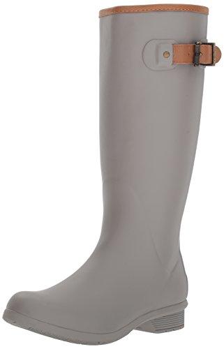 Chooka Women's City Solid Tall Memory Foam Rain Boot, Stone, 8 M US