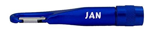 Personalisierte Taschenlampe mit Karabiner mit Aufschrift Jan SHOPZEUS