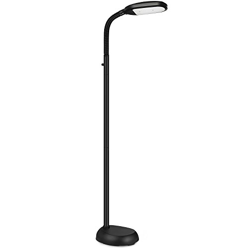 SHINE HAI LED Floor Lamp - Dimmable Natural Daylight Sunlight LED Reading And Craft Standing Light Full Spectrum- Adjustable Gooseneck In Any Direction For Living Room Bedroom Office - Black - Natural Spectrum Lamp