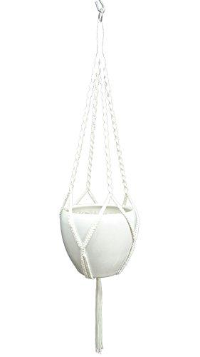 Hanpo 4 Legs Polypropylene fiber Rope Macrame Plant Hanger Hanging Planter Holders Black& White Color, 48-inches for 10-12 Pot (white)