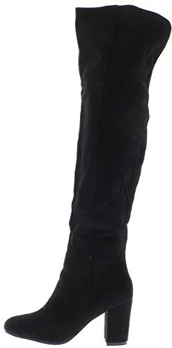 Botas negras con tacón de 7.5 cm del tallo las costuras