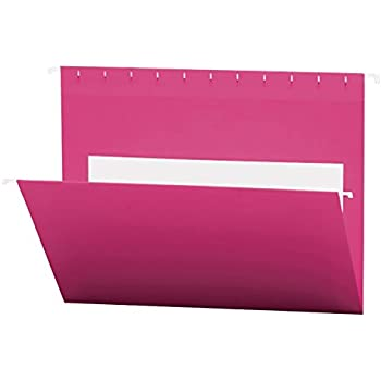 smead hanging file folders with interior pocket letter size pink 25 per box