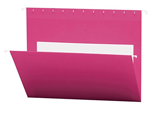 Smead Hanging File Folders with Interior Pocket, Letter Size, Pink, 25 Per Box (64429)