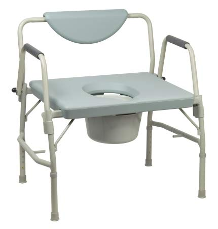 12 Quart Commode - Over-Sized Drop-Arm Commode Chair, Heavy Duty Steel Frame, 1000 lb. Capacity, 12 Quart Bucket
