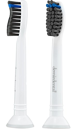 demirdental Charcoal Replacement Toothbrush Heads fits all Philips Sonicare Snap-On Handles   Firm   4 Pack