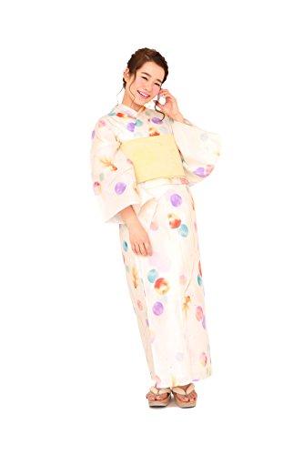 気晴らし無駄なヘッドレス[ボヌールセゾン] bonheur saisons レディース浴衣セット 兵児帯 白 クリームオレンジ 橙色 水玉 ドット 金魚 綿 女性