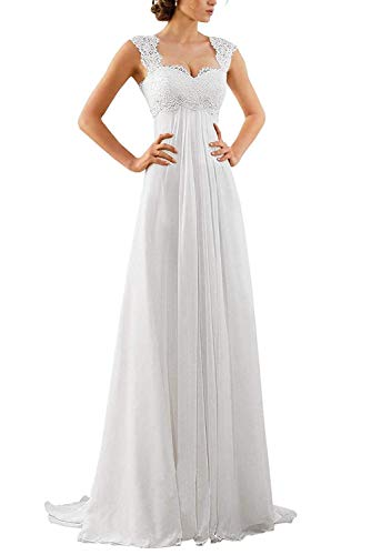 Women's Sleeveless Lace Chiffon Evening Wedding Dresses Bridal Gowns US 6 White