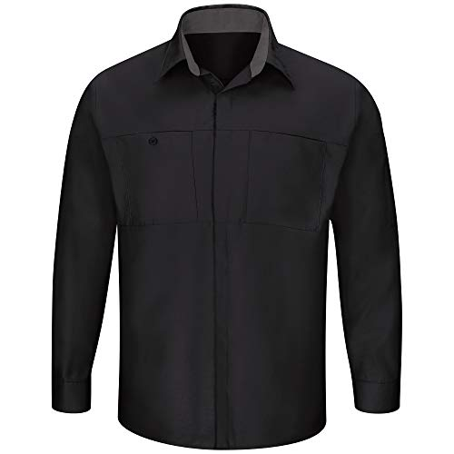 (Red Kap Men's Long Sleeve Performance Plus Shop Shirt, Black with Charcoal Mesh Medium)