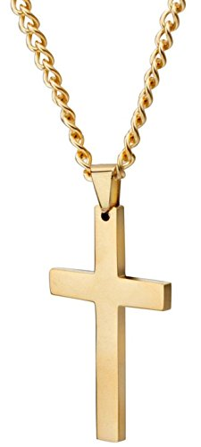 Areke Mens Cross Necklace for Men Women Unisex Stainless Steel Pendant Necklaces
