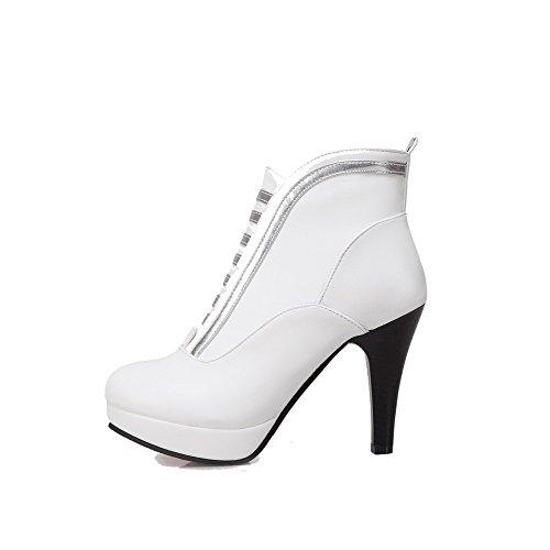 AllhqFashion Damen Reißverschluss PU Leder Hoher Absatz Reißverschluss Rund Zehe Stiefel Weiß