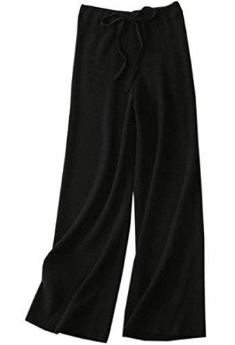 DAIMIDY Women's Cashmere Pants, Wide Leg Palazzo Casual Lounge Knitted High Waist Pants, Black, US XS-S(0-6)
