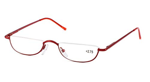 SOOLALA Vintage Designer Alloy Flat Top Half Frame Stylish Slim Reading Glasses, Red, 3.0