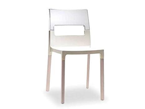 Scab natural diva sedia in polipropilene colore lino e