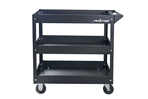 Steel Tool Cart - Service Tool Cart Tool Organizers - 29 inch 3 trays tool cart, Frontier qualified design, simple assembly, 4 castors moveable, 220LBS max loading capacity (Black color)