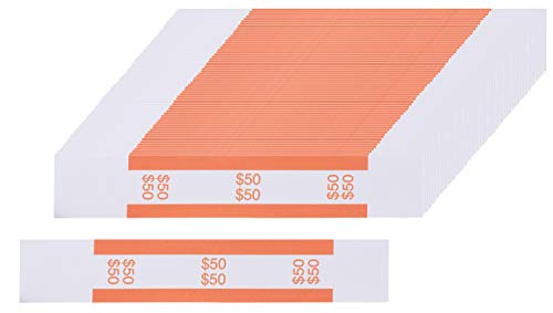 Currency Bands - 300-Count $50 Dollar Bill Wrappers, Money Bands, Currency Straps to Organize Bills, ABA Standard Colors, Self-Adhesive, Orange, 7.55 x 1.25 Inches