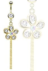 """Body Accentz® Belly Button Ring 316L Surgical Steel Gold IP Flower with Faceted Petals Dangle Navel Ring 14 Gauge 3/8"""""""