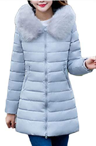 Faux Hood Winter with Thicken Fur Down Trim Jacket Women's Coat TTYLLMAO Gery 6xavIq06w