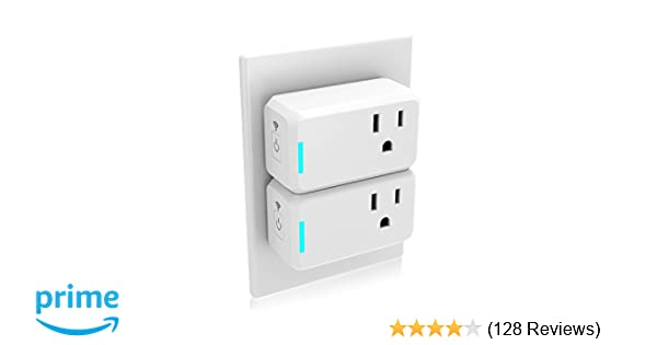 Mini Smart Plug 2 Pack Compatible with Alexa Echo Google Home IFTTT,no Hub Required,Wifi enabled Smart Socket Control your Devices from Anywhere,Occupies Only One Socket