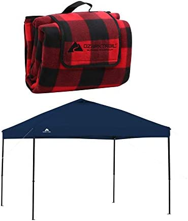 A.T. Products Corp. Ozark Trail Oversized Waterproof Plaid-Pattern Picnic Blanket Bundle with Ozark Trail 10 x 10 Straight Leg Instant Tailgate Navy Blue Canopy