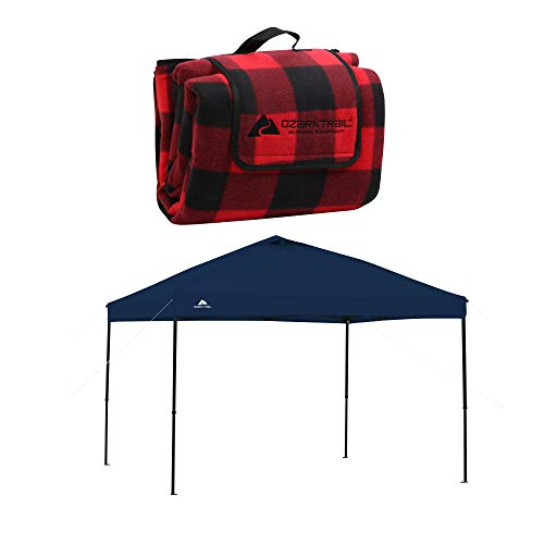 Ozark Trail Oversized Waterproof Plaid-Pattern Picnic Blanket Bundle 10' x 10' Straight Leg Instant Tailgate Navy Blue Canopy
