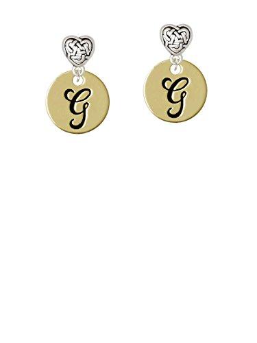 Goldtone Large Disc Letter - G - 3/4'' - Celtic Heart Earrings