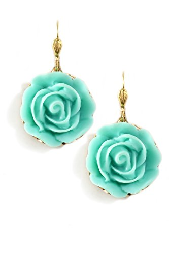 Clara Beau Medium Turquoise Color Resin Flower Goldtone Earrings EC384 G-Trq]()