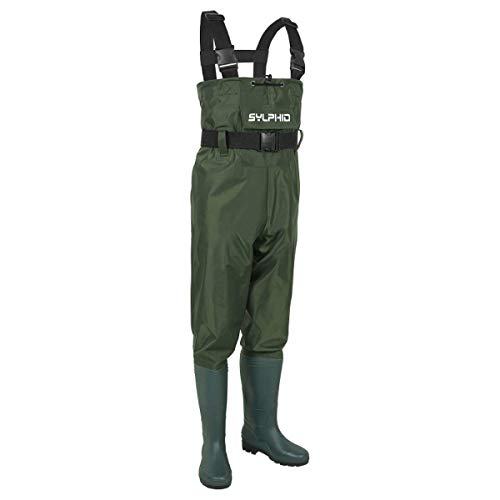 - SYLPHID Bootfoot Chest Waders 2-Ply Nylon PVC Waterproof Fishing & Hunting Waders for Men and Women (Green, 40 M7/W9)
