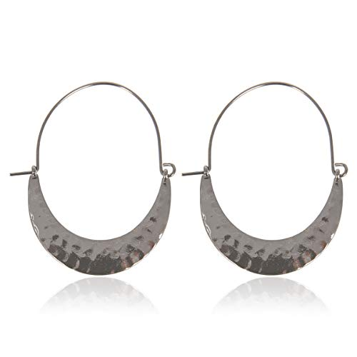 Simple Geometric Hoop Earrings - Bohemian Tribal Lightweight Profile Shield Hoops Curved Metal Crescent Moon, Hammered Filigree (Hammered Shield - Hematite)
