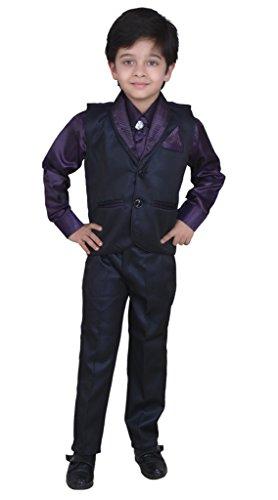 Boys Shirt Pant Waistcoat & Tie set Kids Wear by Arshia Fashions - 2 - 7 Years - Full Sleeves - Party Wear - Purple