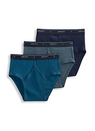 Jockey Men's Underwear Classic Low-Rise Brief - 3 Pack, True Navy/Deepest Ocean Heather/Blue Monday, 36 Cotton Low Rise Brief