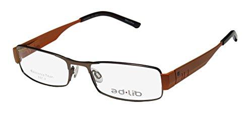 Ad.lib 3101 Mens/Womens Rectangular Full-rim Titanium Spring Hinges Eyeglasses/Eye Glasses (52-17-140, Brown / Orange) (Ad Lib Mens Eyeglasses)