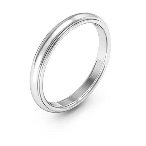 (14K White Gold men's and women's plain wedding bands 3mm half round edge comfort fit, 7.25)