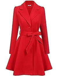 Women Swing Wool Trench Pea Coat Lapel Wrap Winter Long Overcoat w/Belt