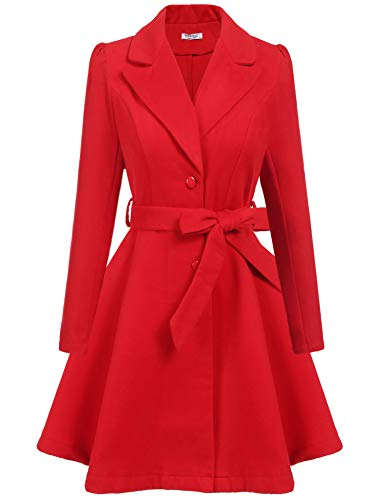 ELESOL Womens Wool Coat Peacoat Winter Long Jacket with Belt Red - Red Womens Peacoat