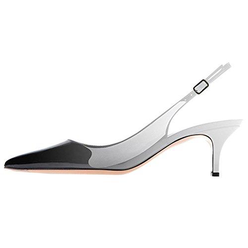 Lovirs Vrouwen Slingback Enkelbandje Sandalen Stiletto Mid-hak Puntige Teen Pumps Schoenen Voor Feestjurk Zwart-grijs