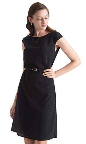LilySilk Silk Little Black Dress for Women Knee Length with Beltc Cap Sleeve Evening Party Sexy 16 MM Pure Silk S/4-6