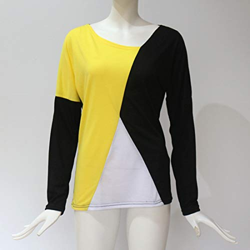 Femmes Manches Shirts JackenLOVE Tops Chemisiers Blouse Tee T Jaune Pulls Automne et Jumper Fashion Casual Printemps Hauts Longues Patchwork Aw4Odw