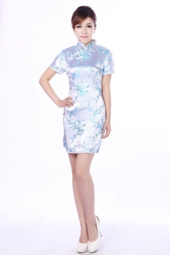 JTC Femme Robe Courte Style Chinois Cheongsam Calycanthe en Brocart-bleu clair