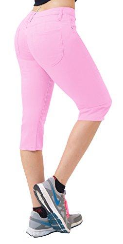 Women's Butt Lift Super Comfy Stretch Denim Capri Jeans Q43308X Pink 18 (Stretch Pink Denim)