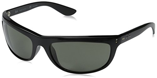 Ray Ban Aviator Wrap Sunglasses - Ray-Ban Men's RB4089 Balorama Oval Sunglasses, Black/Polarized Green, 62 mm