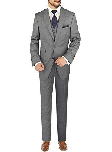 DTI BB Signature Italian Men's Vested Wool Suit 3 Piece Jacket Pant Waistcoat (50 Long US / 60L EU/W 44