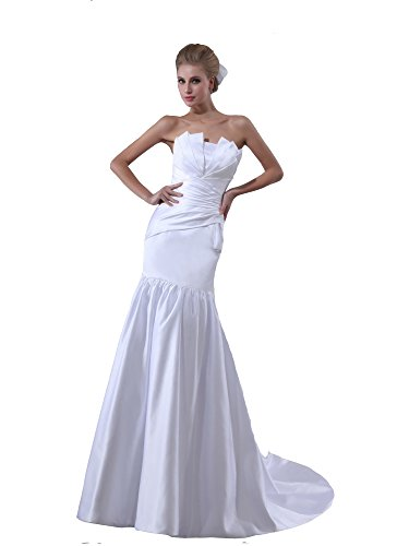 VogueZone009 Womens Strapless Sleeveless Silk Pongee Wedding Dress, ColorCards, 16 by VogueZone009
