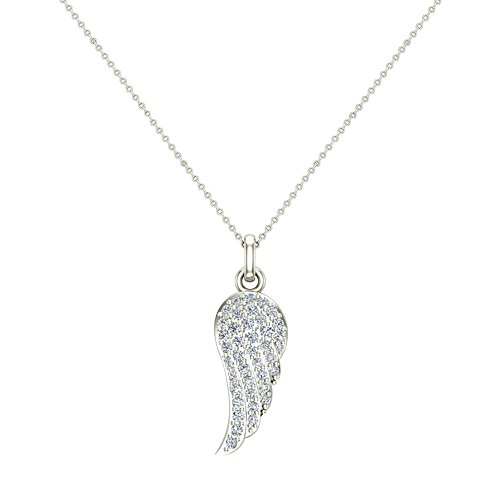 Diamond Wing Pendant (0.47 ct Angel Wing Diamond Pendant 14K White Gold (P0199))