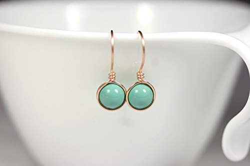 Rose Gold Green Turquoise Earrings with Jade Swarovski Pearls Wire Wrapped Choice of Rose or Yellow Gold Filled